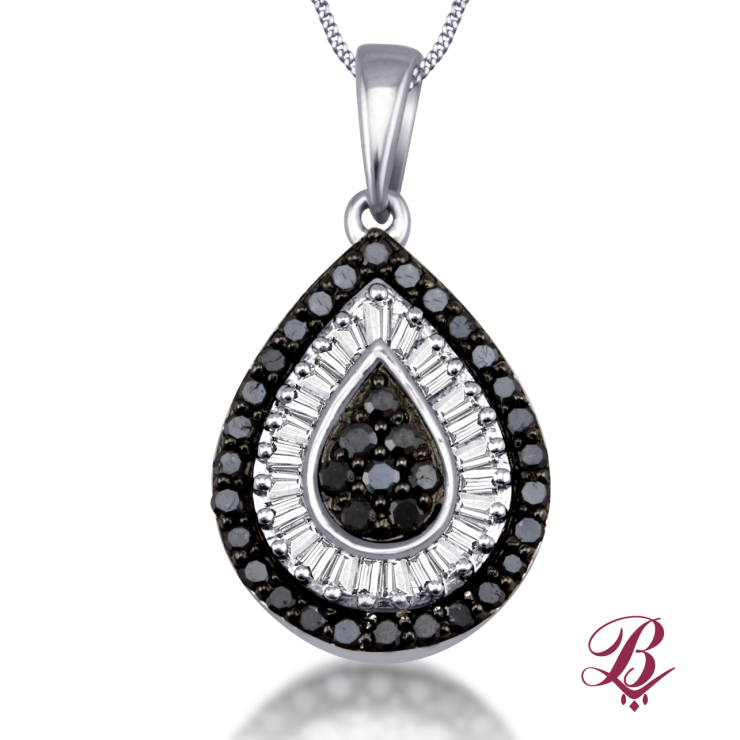 Pendants bombay jewels black white diamond pendant in tear drop frame mozeypictures